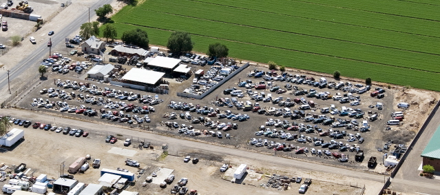 Auto Parts Yard Aerial View